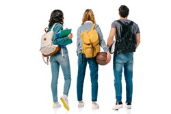 back view of multicultural students with backpacks and basketball ball isolated on white