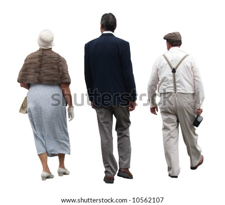 Back view of 3 people wearing art deco clothes