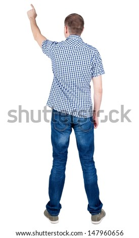 Back view of  pointing young men in  shirt and jeans. Young guy  gesture. Rear view people collection.  backside view of person.  Isolated over white background.