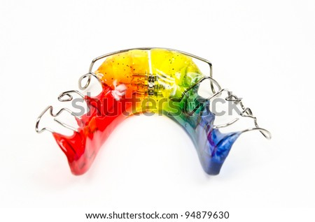 back view of rainbow colored brace