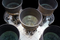 Back view of rocket ship thrusters isolated on black