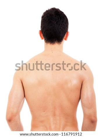 Back view of sexy muscular man, isolated on white