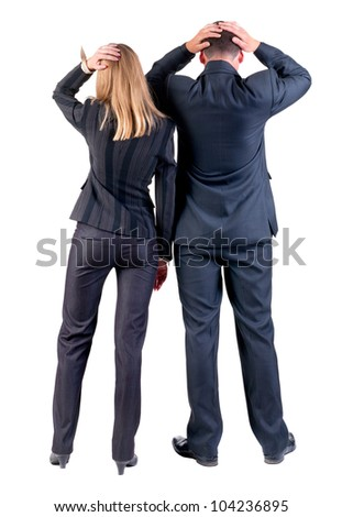 Back view of shocked business team look. businessteam (man & woman). beautiful friendly girl and guy in depression. Rear view people collection. backside view of person. Isolated over white background