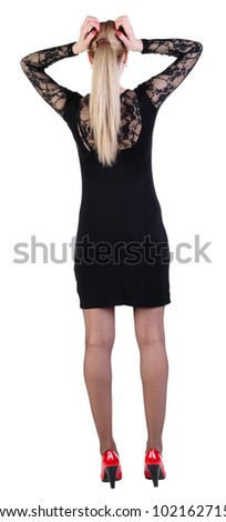 Back view of shocked business woman in dress .   upset young girl. Rear view people collection.  backside view of person.  Isolated over white background.