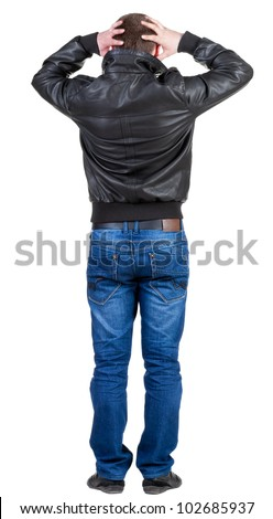 Back view of shocked  man in jacket . Upset adult men. Rear view people collection.  backside view of person.  Isolated over white background.
