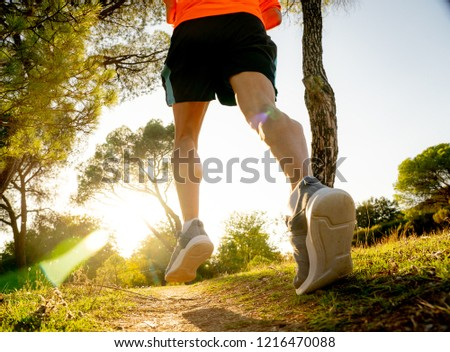 Back view of sport man with ripped athletic and muscular legs running off road in nature at autumn sunset in jogging training workout at countryside in fitness and healthy lifestyle concept. #1216470088