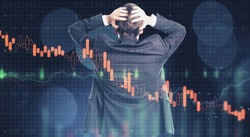 Back view of stressed young businessman on blurry bokeh forex chart background. Currency exchange and broker concept. Double exposure