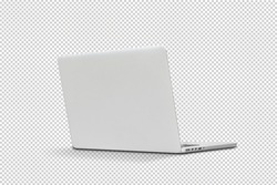 Back view Of the latest laptop Designed to be slim modren , isolated with clipping path on transparent background