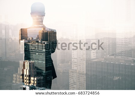 Back view of thoughtful young businessman on abstract city background with copy space. Research concept. Double exposure  #683724856