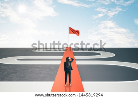 Back view of thoughtful young businesswoman with road and goal ahead on blue sky background. Success and challenge concept. #1445819294