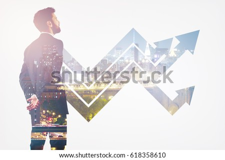 Back view of thoughtful young man on abstract city background with upward arrows. Growth concept. Double exposure