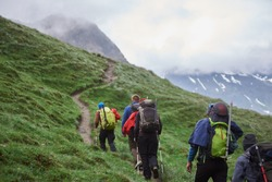 Back view of travelers with backpacks using trekking poles while climbing the grassy hill. Group of male hikers walking on path and heading to foggy mountain. Concept of hiking, climbing and alpinism.