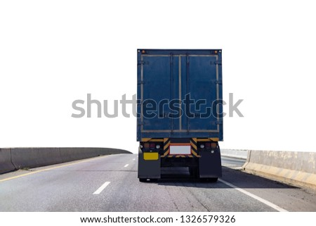 Back view of Truck on road with blue container, transportation concept,import,export logistic industrial Transporting Land transport on the expressway.on white background #1326579326
