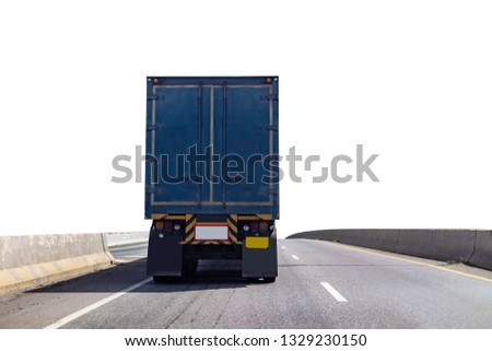 Back view of Truck on road with blue container, transportation concept,import,export logistic industrial Transporting Land transport on the expressway.on white background #1329230150