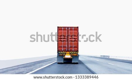 Back view of Truck on road with red container, transportation concept,import,export logistic industrial Transporting Land transport on the expressway.on white background #1333389446