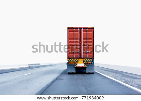 Back view of Truck on road with red container, transportation concept,import,export logistic industrial Transporting Land transport on the expressway.on white background #771934009