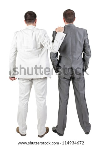 Back view of Two businessmen discuss. Rear view people collection.  backside view of person.  Isolated over white background.