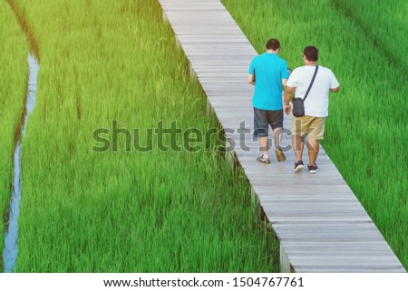 Back view of two male friends walk and take photography along the bamboo path that crossed through the fields in the evening before the sun set down on the horizon. #1504767761