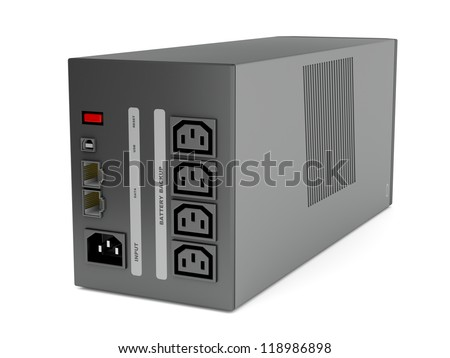 Back view of uninterruptible power supply on white background - stock photo