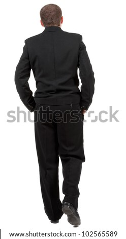 back view of walking business man.  going young guy in black suit. Rear view people collection.  backside view of person.  Isolated over white background.