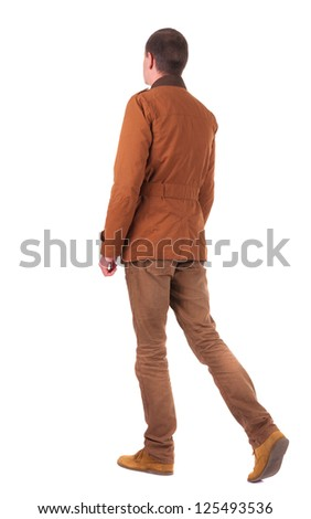 Back view of walking  businessman in jeans and jacket.  going young guy in jeans and  jacket. Rear view people collection.  backside view of person.  Isolated over white background.