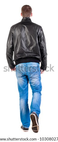 Back view of walking handsome man in jacket.   going young guy in jeans and  jacket. Rear view people collection.  backside view of person.  Isolated over white background.