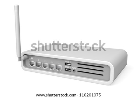 Back view of wireless router on white background - stock photo
