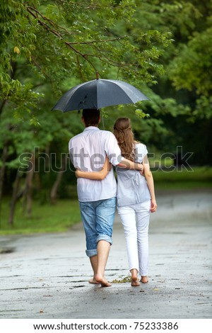 Back view of woman and man walking under umbrella during rain