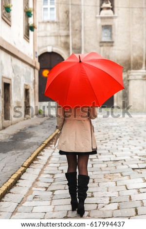 Free Woman With Umbrella On Landscape 59839 Stock Photo Avopix Com