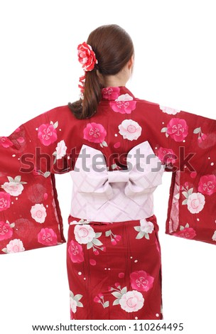 Back view of young asian woman with traditional clothing kimono