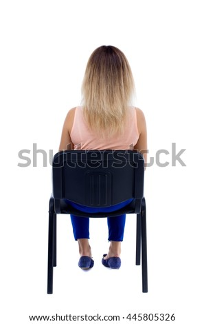 person sitting in chair back view png. Detail · Back View Of Young Beautiful Woman Sitting On Chair. Rear People Collection. Backside Person In Chair Png N