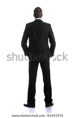 Back view of young business man. Isolated on white background