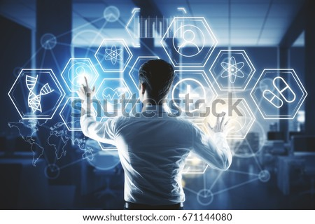 Back view of young businessman pressing digital medical buttons on blurry interior background. Touchscreen concept. Double exposure