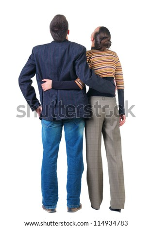 back view of  Young couple looks .  Rear view people collection.  backside view of person.  Isolated over white background.