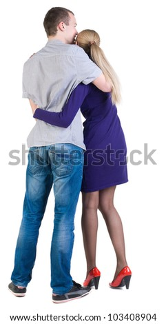 Back view of young couple (man and woman) look into the distance. beautiful friendly girl and guy together. Rear view people collection.  backside view of person.  Isolated over white background