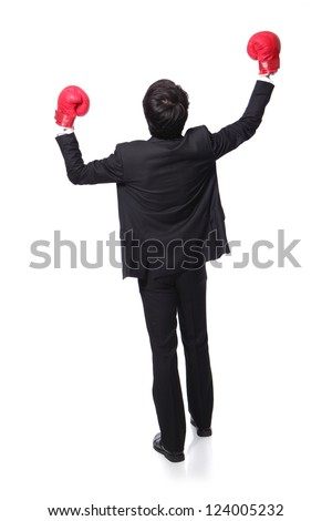 back view of young handsome Businessman win pose with boxing gloves and raise his arms in full length isolated on white background, asian model