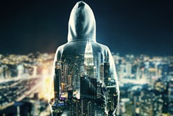 Back view of young person in hoodie on glowing night Kuala Lumpur city background. Success, research and leadership concept. Double exposure