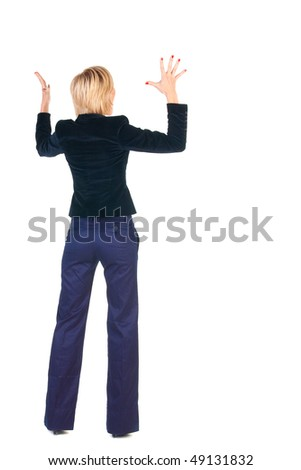 Back view of young shocked blonde business woman. Rear view . Isolated over white.