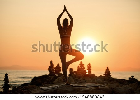 Back view of Zen-like woman in tree pose meditating on a rock by the sea at sunset. Copy space. #1548880643