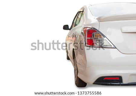 back view white saloon car truck isolated on white background with clipping path #1373755586