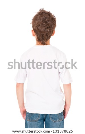 Back white T-shirt on a boy, isolated on white background