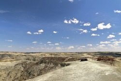 Backcountry camping in the badlands of Grasslands National Park East Block, Canada