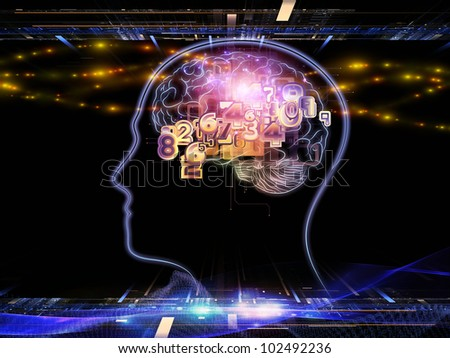 Backdrop composed of head outlines, lights and abstract design elements and suitable for use on intelligence,  consciousness, logical thinking, mental processes and brain power