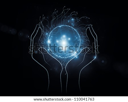 Backdrop composed of human hand and technological elements and suitable for use in the projects on science, alternative energy and portable technologies