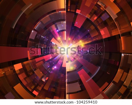 Backdrop composed of lights, fractal concentric grids, technological lines and suitable for use on science, energy, signal processing  and modern technologies