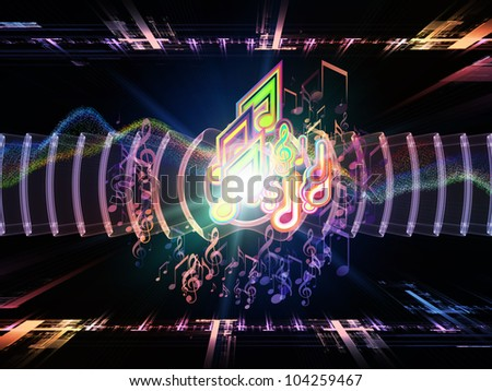 Backdrop composed of musical notes, perspective fractal grids, lights, wave and sine patterns and suitable for use on music, sound equipment and processing, audio performance and entertainment