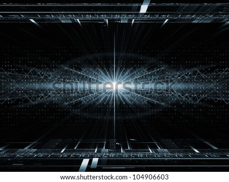 Backdrop design of fractal grids, lights  and technological elements to provide supporting composition for illustrations on science, computing and modern technologies