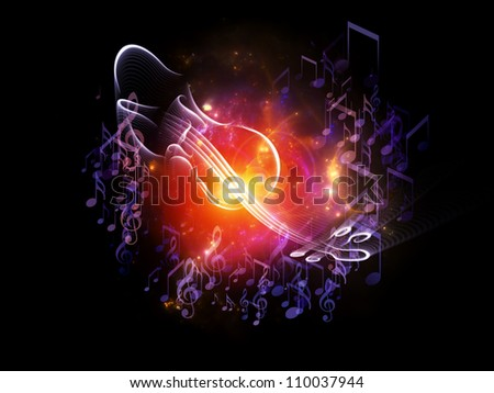 Backdrop design of violin graphic, musical notes and design elements to provide supporting composition for illustrations on classical  and folk music, art, performance and entertainment