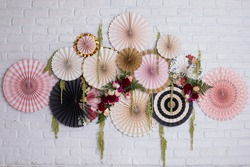 BACKDROP FLOWERS PARTY SMASH THE CAKE PARTY DECOR WOOD PINK BLACK