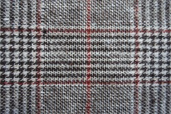 Backdrop - gray and red Glen check fabric from above